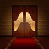 Empty room with door. Background image with beautiful wooden door and red carpet Stock Images