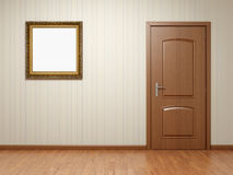 Empty room with door and frame Royalty Free Stock Image