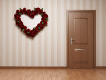 Empty room with door and heart Stock Image