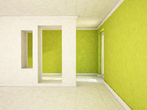 Empty room with a door and the niches, Stock Photos