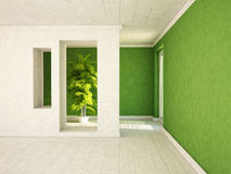 Empty room with a door and the niches, a plant, Royalty Free Stock Image