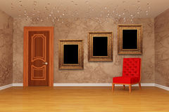 Empty room with door, red chair and frames Royalty Free Stock Photos