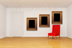 Empty room with door, red chair and picture frames. Empty room with door, red chair and golden picture frames Stock Photos
