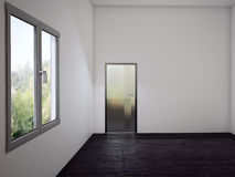 Empty  room with the door and a window, 3d. Rendering Stock Image