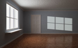 Empty room, with door and window, sun highlight. On the wall, 3d illustration Royalty Free Stock Photography