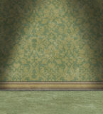 Empty Room With Faded Green Damask Wallpaper Stock Photos