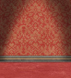 Empty Room With Faded Red Damask Wallpaper Stock Photo