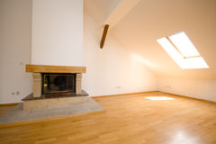 Empty room with fireplace Royalty Free Stock Photography