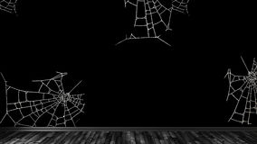 Empty room, floor, baseboards, wall. Made in black tones, wallpaper with cobwebs. 3d illustration Royalty Free Stock Photos
