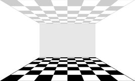 Empty room and floor in the form of a chessboard. Vector Stock Image