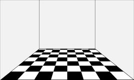 Empty room and floor in the form of a chessboard. Vector Stock Photo