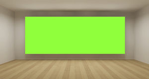 Empty room with green chroma key backdrop Stock Image