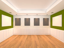 Empty room green with frame gallery Stock Images