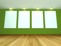 Empty room green gallery Stock Photography