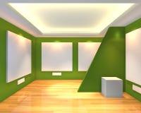 Empty room green gallery Stock Photos
