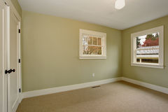 Empty room with green interior and carpet. Royalty Free Stock Images