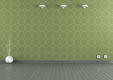 Empty room with green wallpaper Royalty Free Stock Images