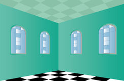 Empty Room with Green walls Royalty Free Stock Photo