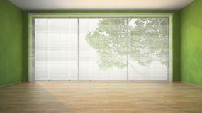 Empty room with green walls Stock Image