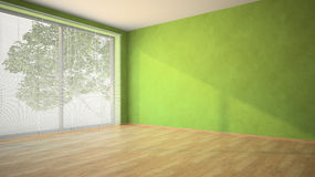 Empty room with green walls and louvers Royalty Free Stock Images