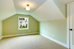 Empty room with green walls and white vaulted ceiling Royalty Free Stock Photography