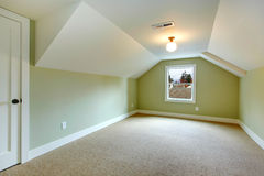 Empty room with green walls and white vaulted ceiling Royalty Free Stock Photo