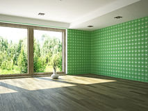 Empty room. Empty green room with window Royalty Free Stock Photo