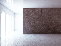 Empty room with grunge wall, 3d. Rendering Stock Photography