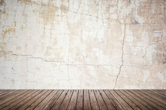 Empty room of grunge wall and wood floor Stock Images