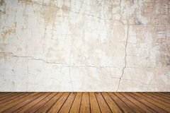Empty room of grunge wall and wood floor Stock Photo