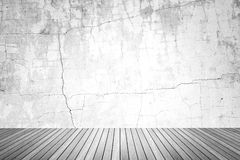 Empty room of grunge wall and wood floor Royalty Free Stock Photography