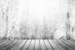 Empty room of grunge wall and wood floor Royalty Free Stock Image