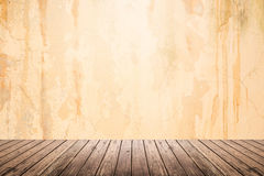 Empty room of grunge wall and wooden floor Royalty Free Stock Photo