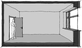 Empty room hand drawn sketch diagram. Hand drawn sketch of a single empty room with door and window Stock Photography