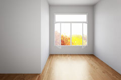 Empty room with hardwood floor Royalty Free Stock Photo
