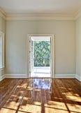 Empty room hdr. Hdr image of empty bedroom or diningroom with open door stock photo