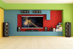 Empty room with home theater. Empty colorful living room with home theater  system-rendering-the image on screen is a my composition Royalty Free Stock Photo