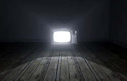 Empty Room With Illuminated Television Royalty Free Stock Photos