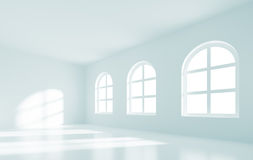 Empty Room Interior. 3d Illustration of Empty Room Interior with Windows Royalty Free Stock Photos