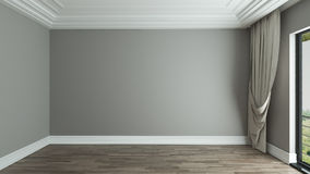 Empty room interior background with curtain. Empty room interior design background with curtain 3D rendering Stock Photo