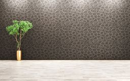 Room with plant interior background 3d rendering Royalty Free Stock Image