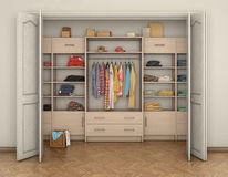 Empty room interior and big closet with clothes; Royalty Free Stock Photography