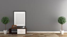 Mock up Empty room interior ,Black wall background on wooden floor. 3D rendering. Empty room interior ,Black wall background on wooden floor. 3D rendering royalty free illustration