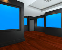 Empty room interior with blue chromakey backdrop canvas Royalty Free Stock Photography