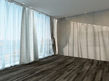 Empty room interior with curtain and parquet floor Stock Photos