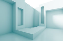 Empty Room Interior. 3d Blue Empty Room Interior Stock Photography