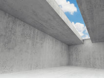 Empty room interior, 3d concrete walls. Empty room interior with concrete walls and blue sky in ceiling window. Abstract modern architecture background, 3d stock illustration