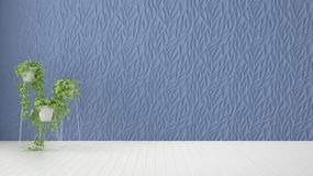 Empty room interior design, blue decorated molded panel, wooden white floor and potted plant, modern architecture background with. Copy space, template mockup royalty free illustration