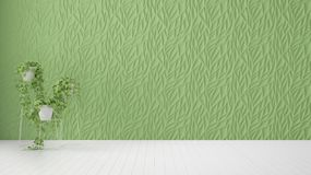 Empty room interior design, green decorated molded panel, wooden white floor and potted plant, modern architecture background with. Copy space, template mockup royalty free illustration