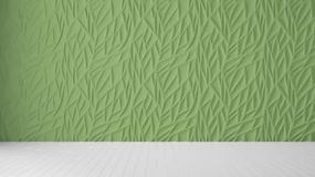 Empty room interior design, green panel and wooden blank floor, modern architecture background with copy space, template mockup. Idea vector illustration
